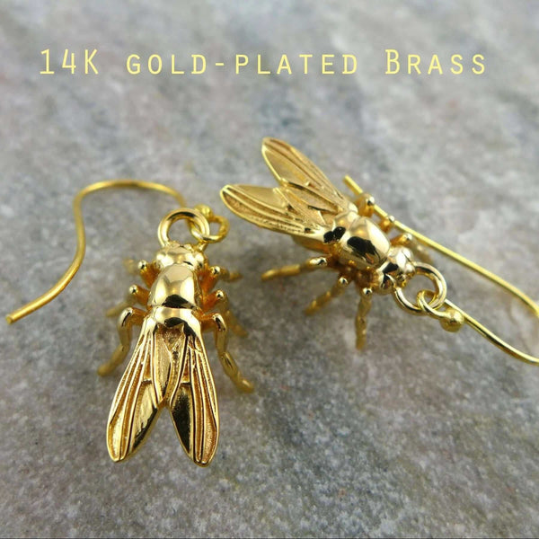 drosophila earrings in 14K gold plated brass