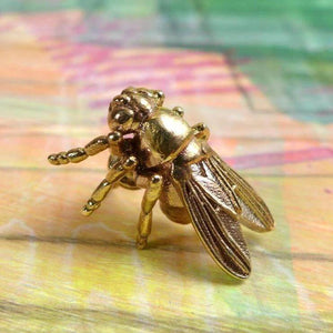 Science Jewelry: Drosophila fruit fly lapel pin in bronze
