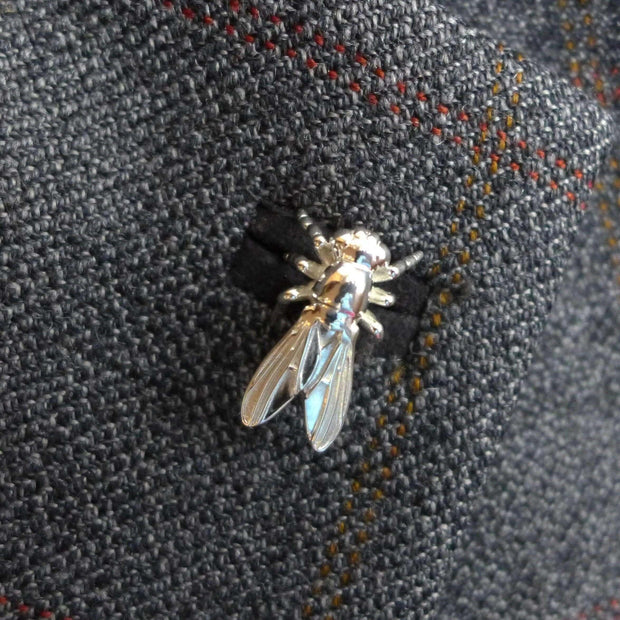 Science Jewelry: Drosophila fruit fly lapel pin in silver