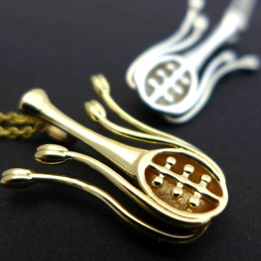 Floral anatomy pendants in silver and brass