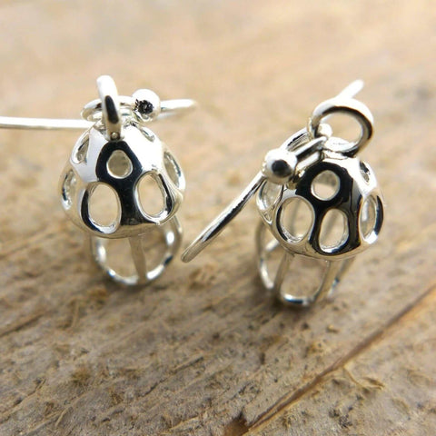 Tintinnid dictyocysta lepida earrings sterling silver