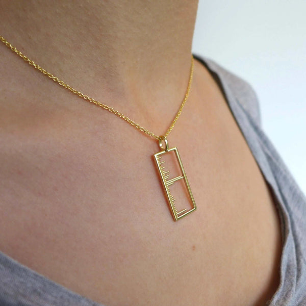 Science Jewelry: Mass Spectrum pendant in polished brass, modeled