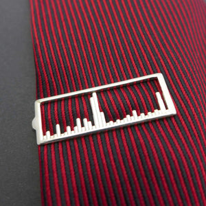 Science Jewelry: Mass spectrum tie bar in polished silver