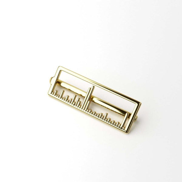 mass spectrum tie bar 14K gold plated brass men's science jewelry