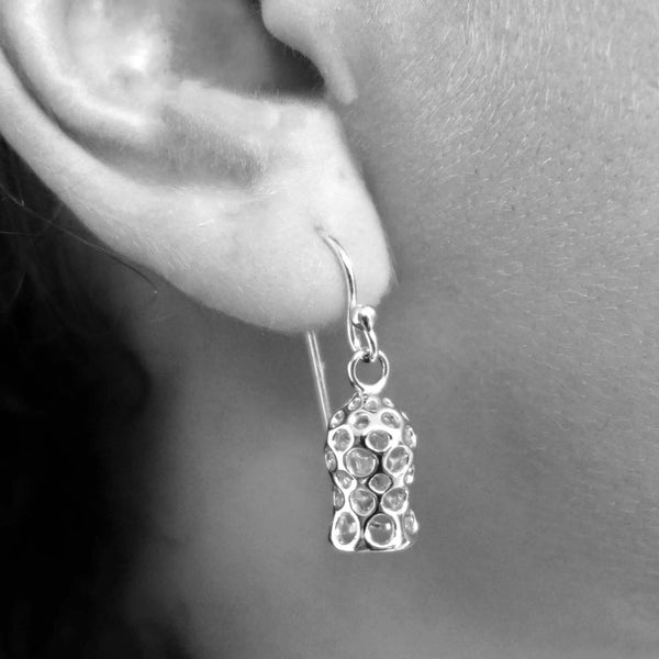 Tintinnid dictyocysta mitra earrings sterling silver