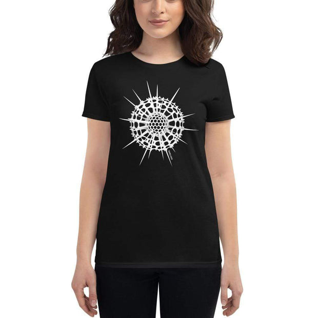 Radiolarian Spumellaria Women's Fitted T-shirt [Ontogenie Science Jewelry] Black S