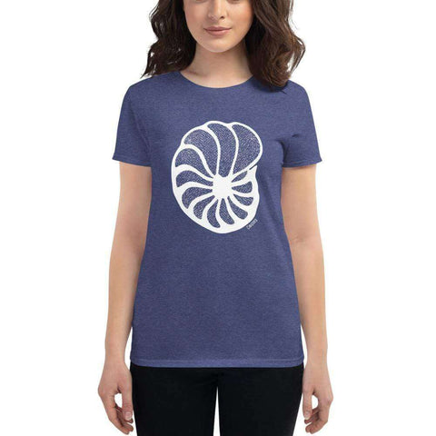 Foraminiferan Cibicides Women's Fitted T-Shirt [Ontogenie Science Jewelry] Heather Blue S