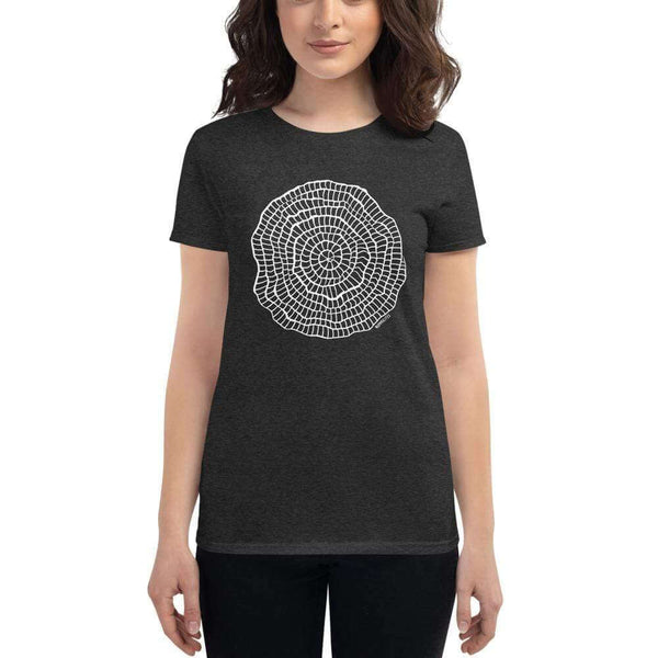 Foraminiferan Nummulites Fitted Women's T-shirt [Ontogenie Science Jewelry] Heather Dark Grey S