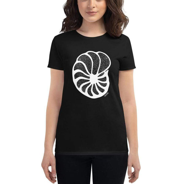Foraminiferan Cibicides Women's Fitted T-Shirt [Ontogenie Science Jewelry] Black S
