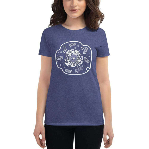 Animal Cell Women's Fitted T-shirt [Ontogenie Science Jewelry] Heather Blue S