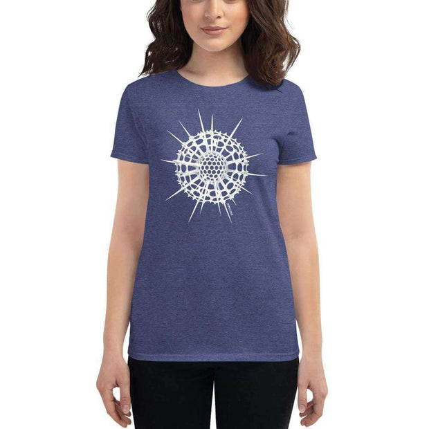 Radiolarian Spumellaria Women's Fitted T-shirt [Ontogenie Science Jewelry] Heather Blue S