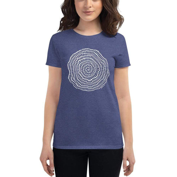 Foraminiferan Nummulites Fitted Women's T-shirt [Ontogenie Science Jewelry] Heather Blue S