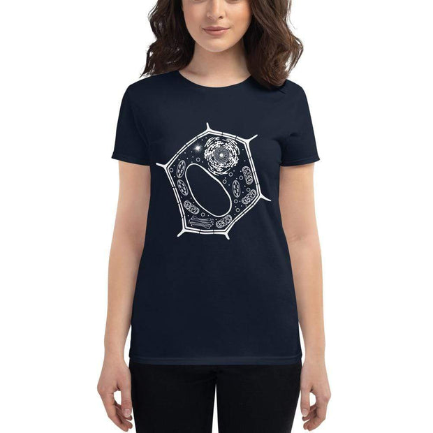 Plant Cell Women's Fitted T-shirt [Ontogenie Science Jewelry] Navy S