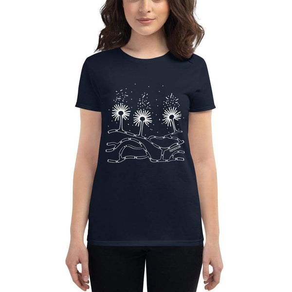 Aspergillus Women's Fitted T-shirt [Ontogenie Science Jewelry] Navy S