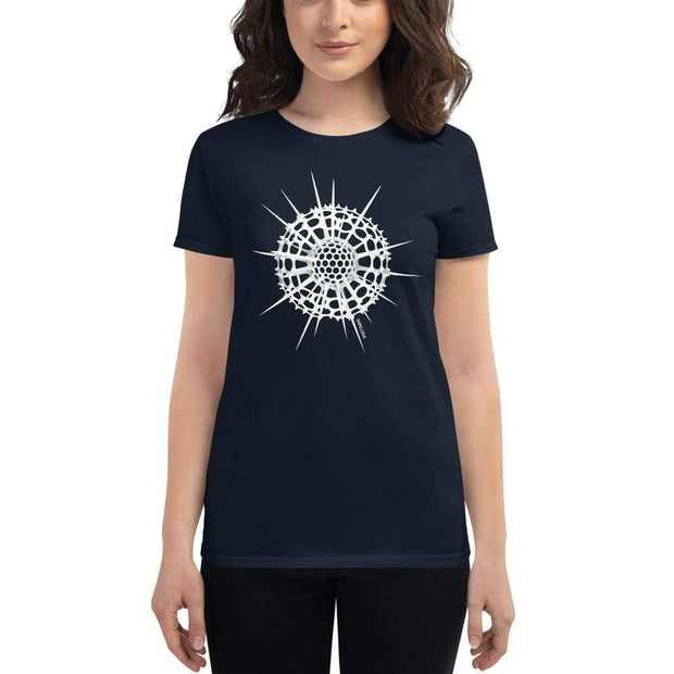 Radiolarian Spumellaria Women's Fitted T-shirt [Ontogenie Science Jewelry] Navy S