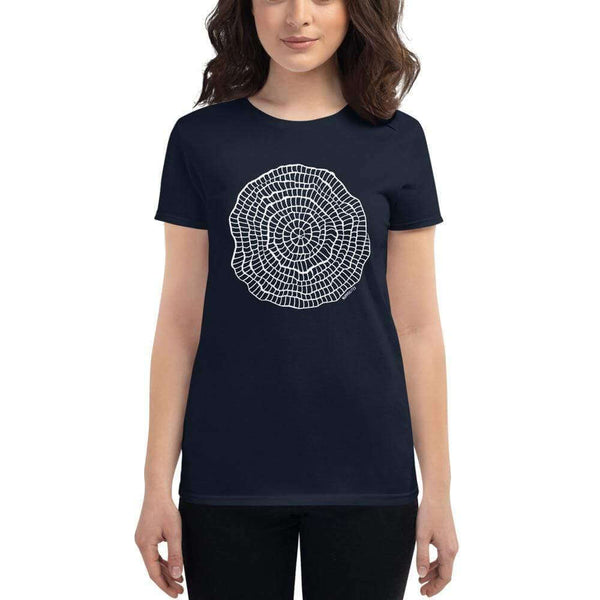 Foraminiferan Nummulites Fitted Women's T-shirt [Ontogenie Science Jewelry] Navy S