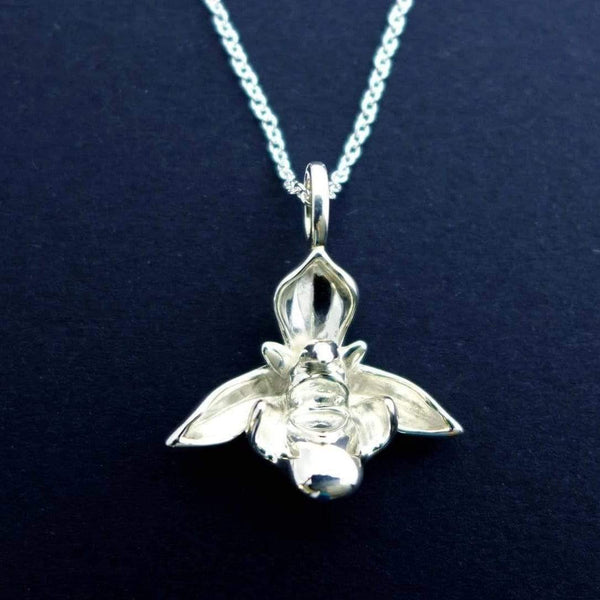 Science Jewelry: Ophrys Bee Orchid pendant in silver