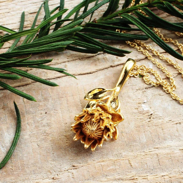 King Protea Pendant [Ontogenie Science Jewelry] Botanical Jewelry