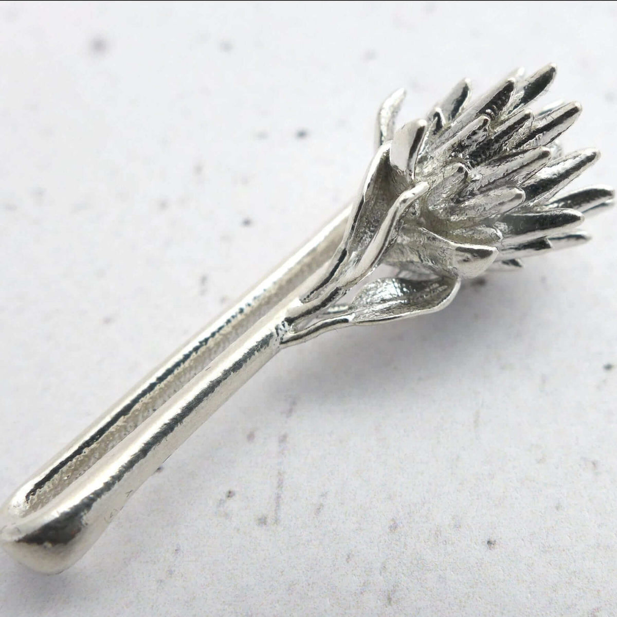 King Protea Tie Bar in sterling silver