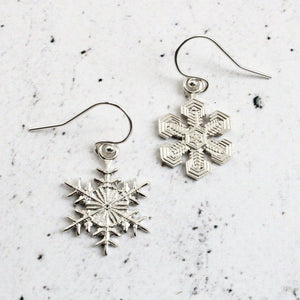 Asymmetric Snowflake Earrings in sterling silver