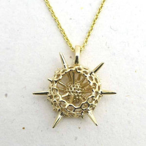 Spumellaria Radiolarian Pendant, small Pendant [Ontogenie Science Jewelry] brass 40 cm/16 in
