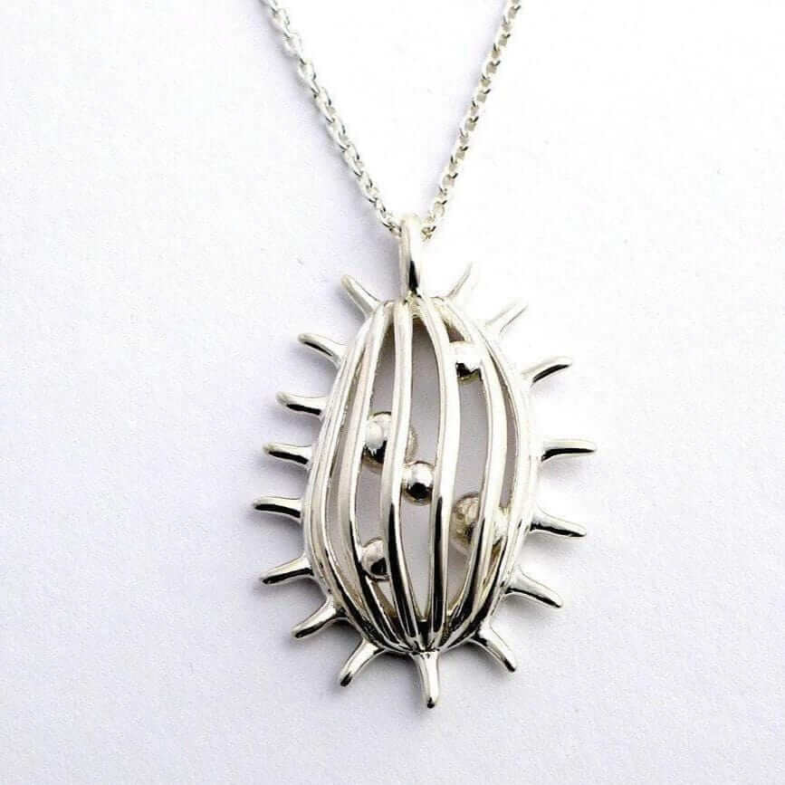 tetrahymena pendant in polished silver