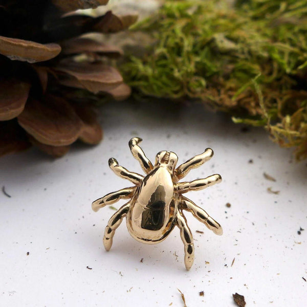 Tick lapel pin polished bronze Ixodes