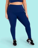 Navy Blue High Waisted Full Length Leggings with Pockets