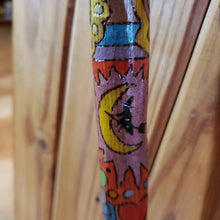 Pagan Witch Woodburned Psychedelic Cane / Vintage Wood Walking Stick Cane