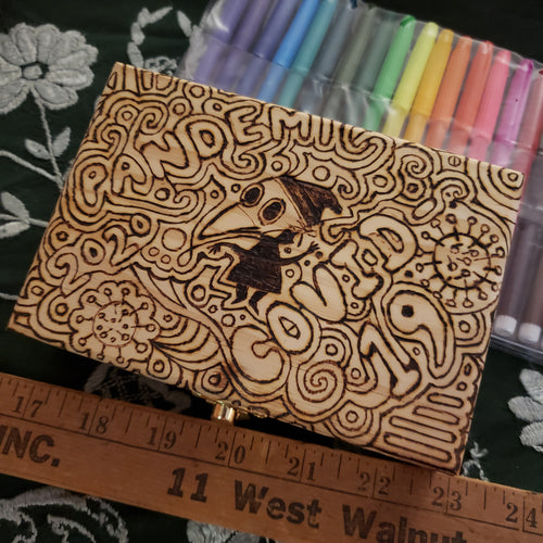 DIY Pandemic Woodburned Art Kit with Markers / Covid 19 Memory Box / Plague Doctor / Trump Sucks