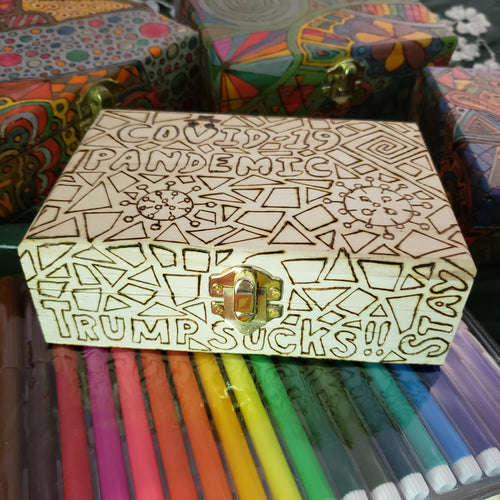 DIY Pandemic Woodburned Art Kit with Markers / Covid 19 Memory Box / Trump Sucks