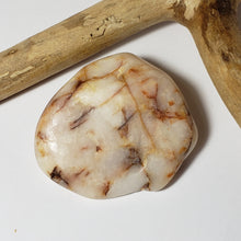 Snow White with Red Hematoid Quartz Polished Palm Stone