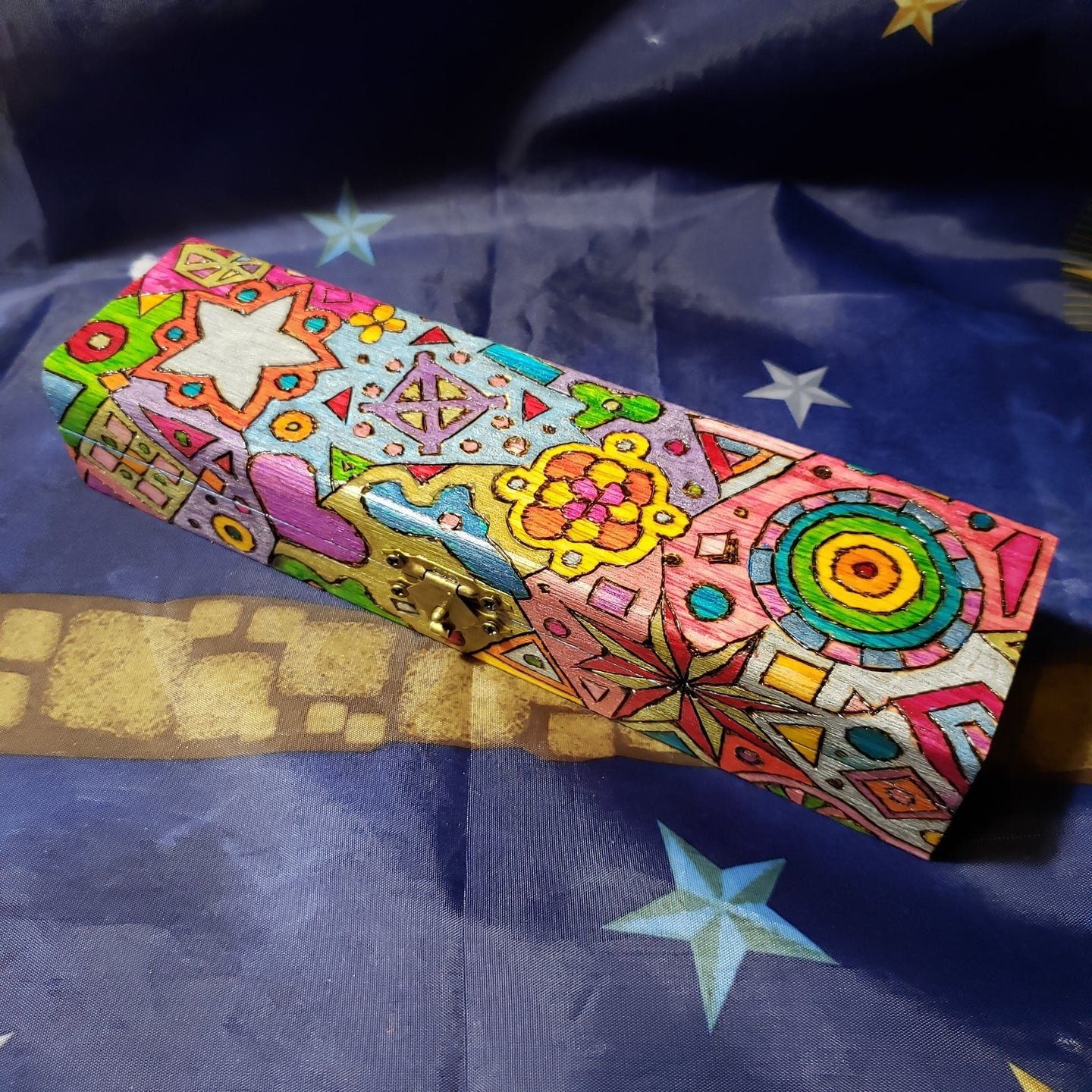 1970s Colorful Woodburned Psychedelic Crystal Case Box / Stash Box