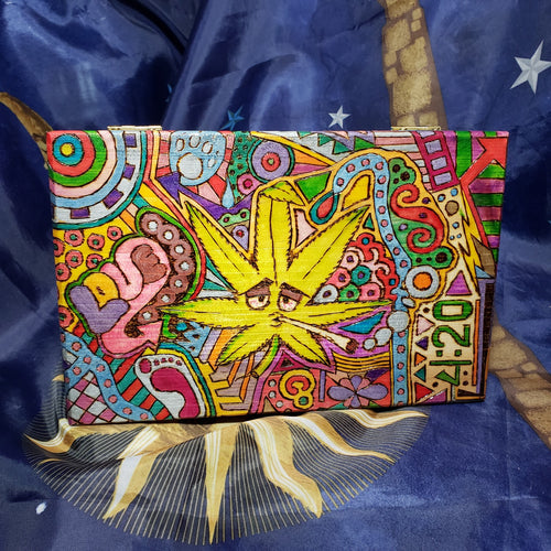 Large Woodburned Psychedelic Stash Box / Peter Max Style Weed Box