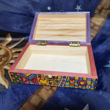 1970's Folk Art Woodburned Psychedelic Stash Box / Weed Box / Tarot Box / Blessings Box