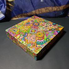 Doodle 1970s Style Woodburned Psychedelic Stash Box / Peter Max Style Weed Box