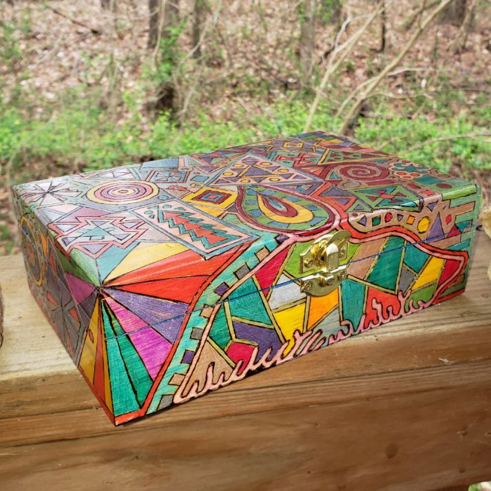 Woodburned Psychedelic Stash Box / Crystal Box / Blessed Be