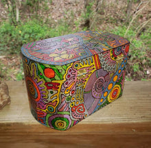 Bitch Please 1970's Folk Art Woodburned Psychedelic Box / Weed Box / Tarot Box / Blessings Box