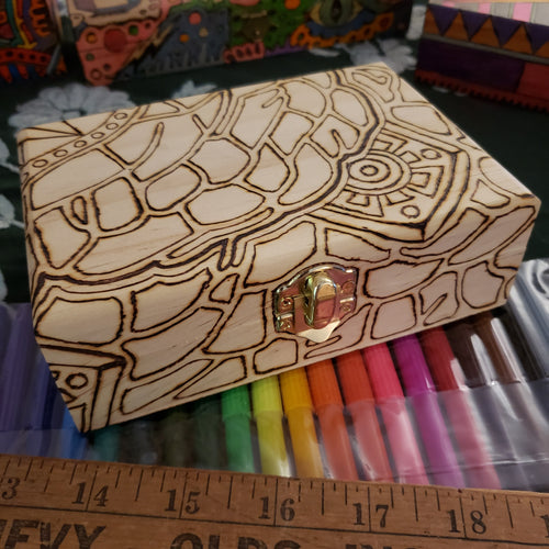 DIY Woodburned Art Box with Markers / Covid 19 Memory Box / Color it yourself / Markers included