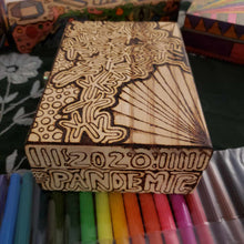 DIY Pandemic Woodburned Box with Markers / Stay Safe Stay Home / Covid 19 Memory Box / Trump Sucks