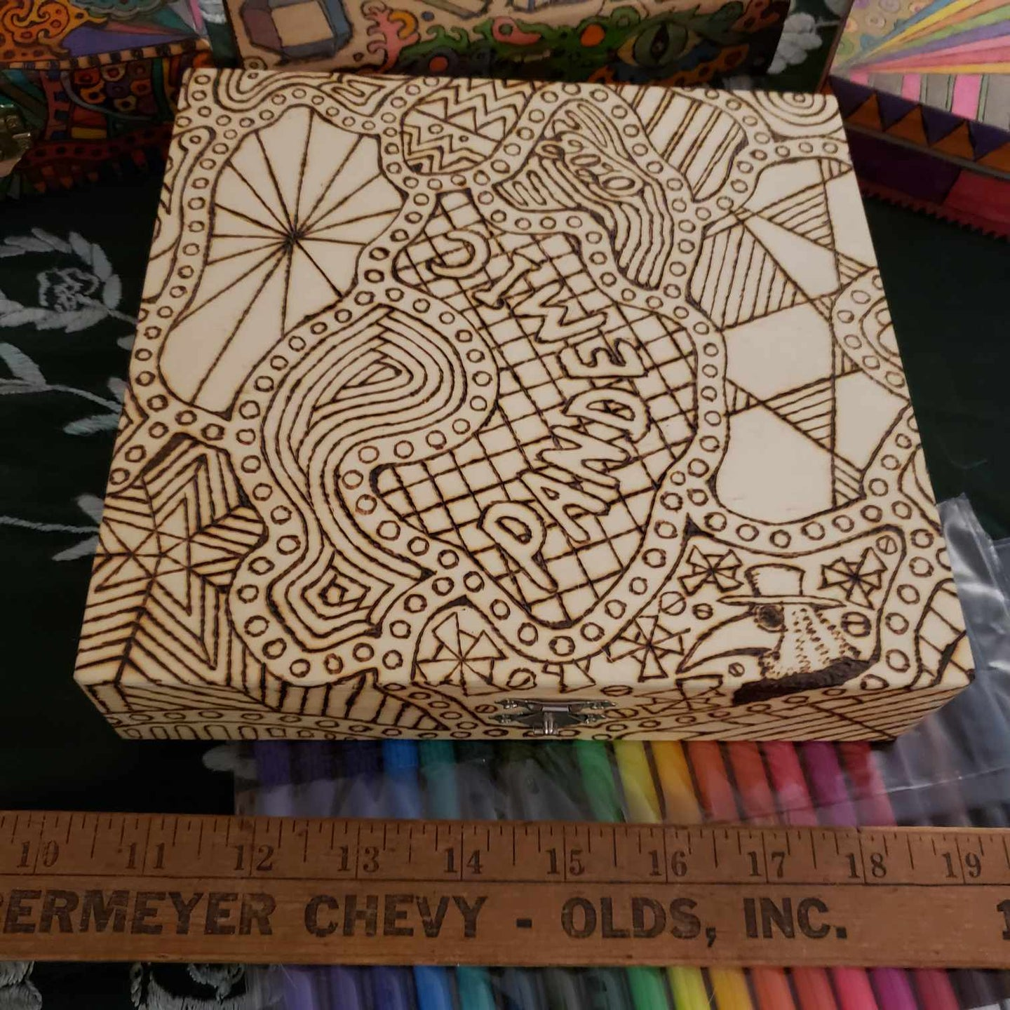 DIY Woodburned Pandemic Box with Plague Doctor & Markers / Covid 19 Memory Box / Color it yourself