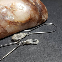 NC Quartz Crystal Points Earrings on Silver Dangle Kidney Hooks for Pierced Ears