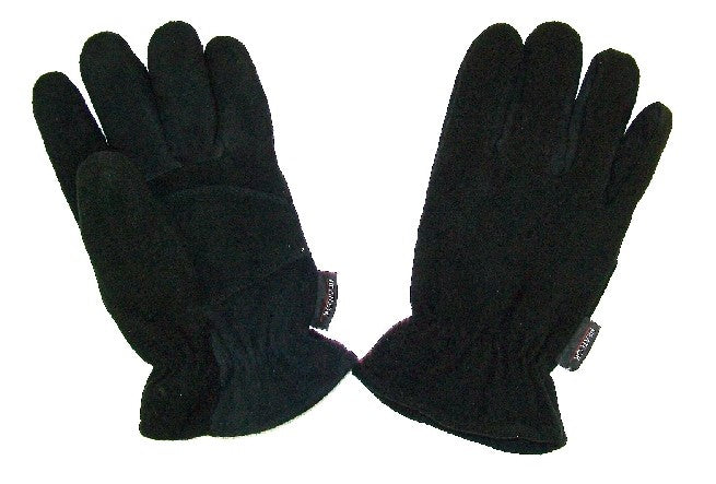 Outdoor Men's Black Deer Suede/Fleece Gloves