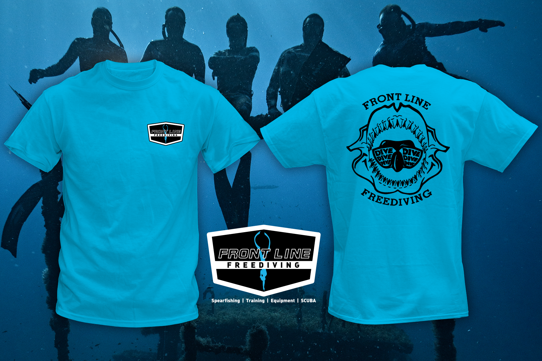 Front Line Shark Jaw T-Shirt Teal