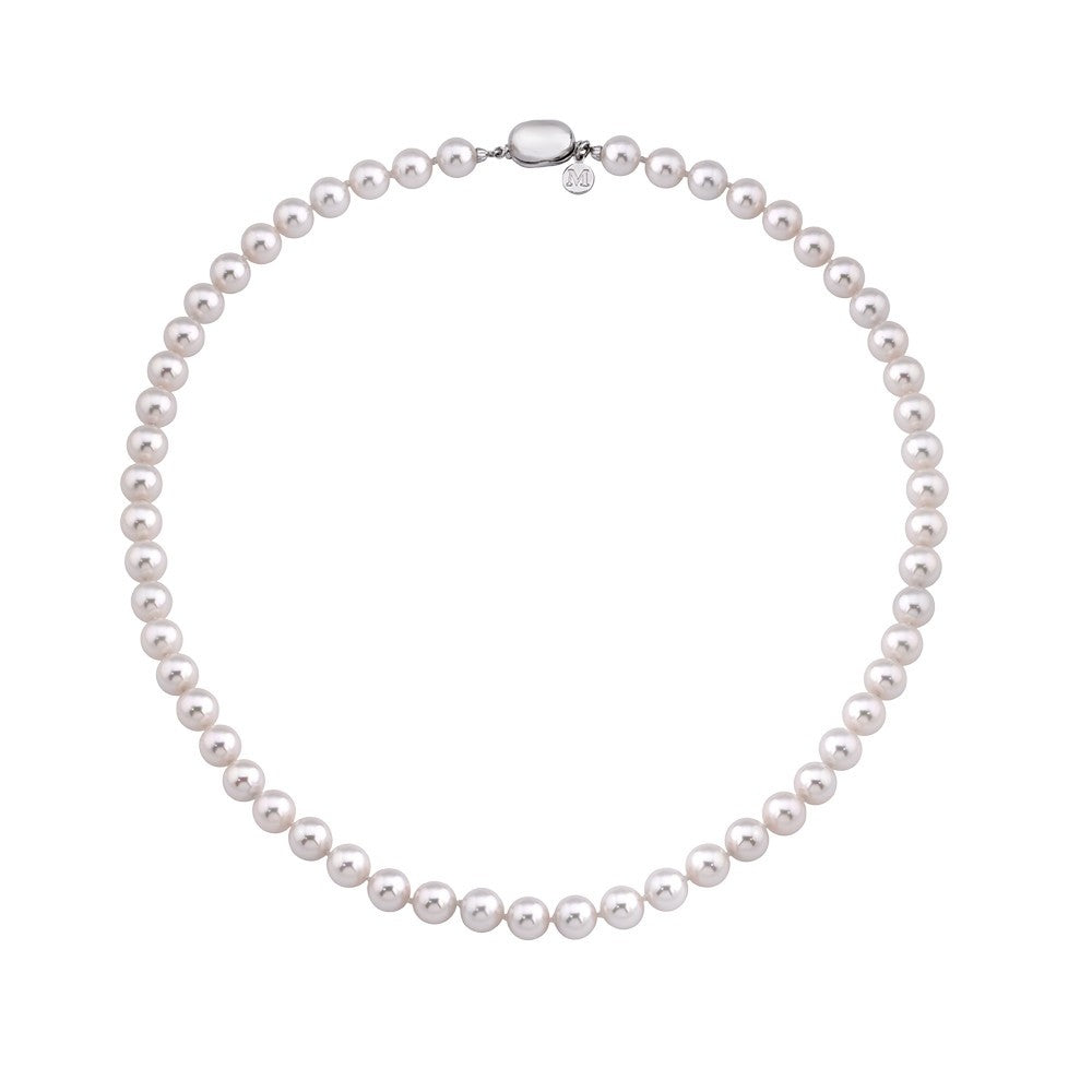Bean Clasp Pearl Strand Necklace