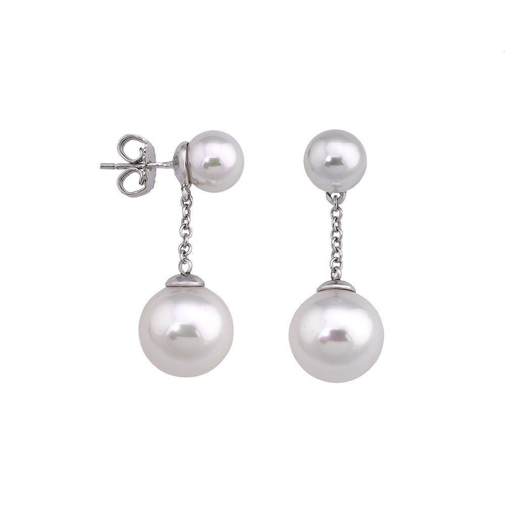Chain Drop Earrings - White Round Pearls