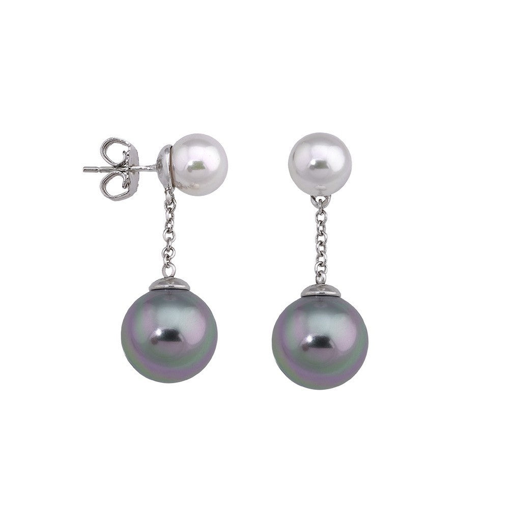 Chain Drop Earrings - Gray & White Pearls