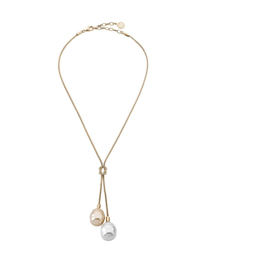 Love Knot Necklace with White & Champagne Baroque Pearls