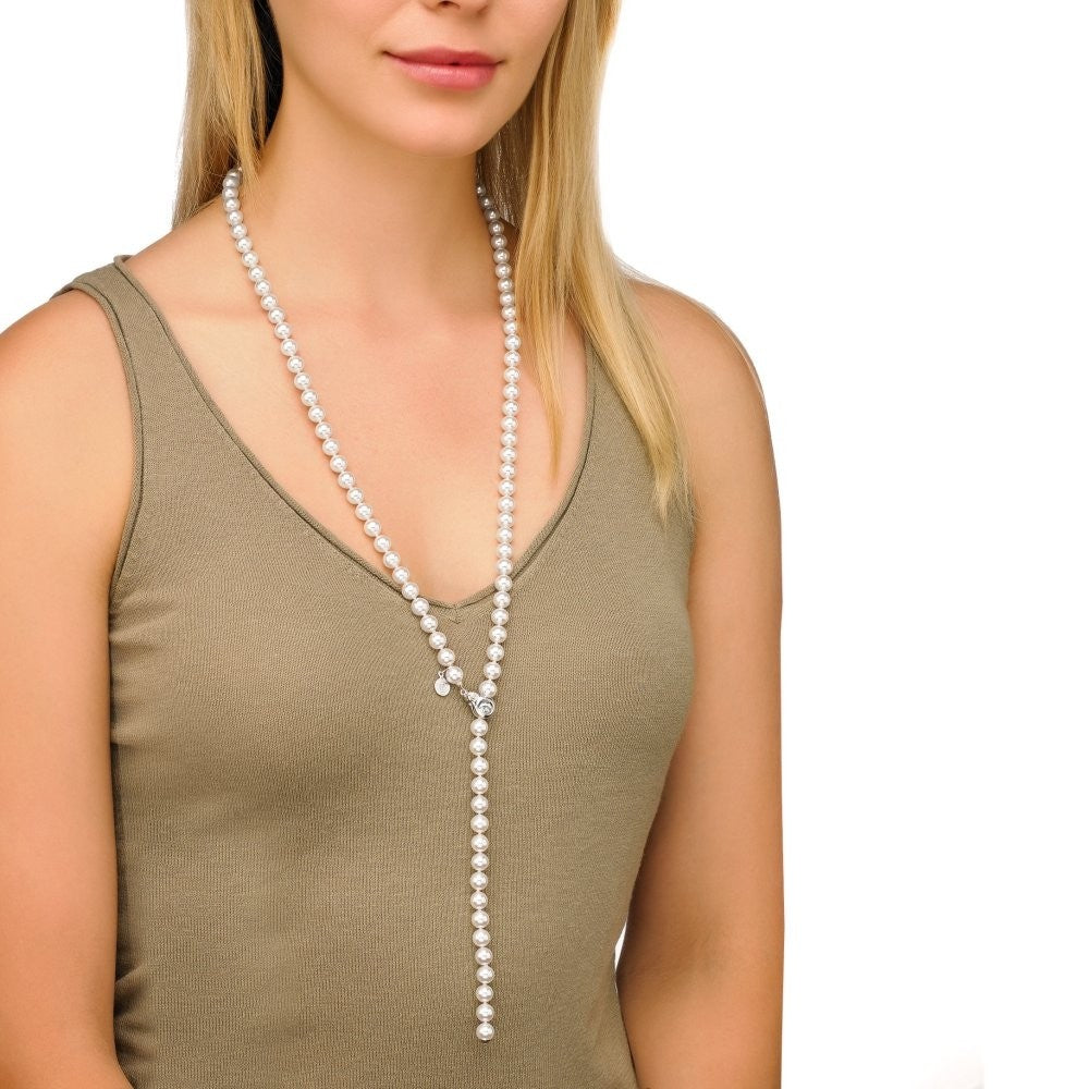 "Lyra 35"" White Round Pearl Strand with Sterling Silver Removable Clasp"