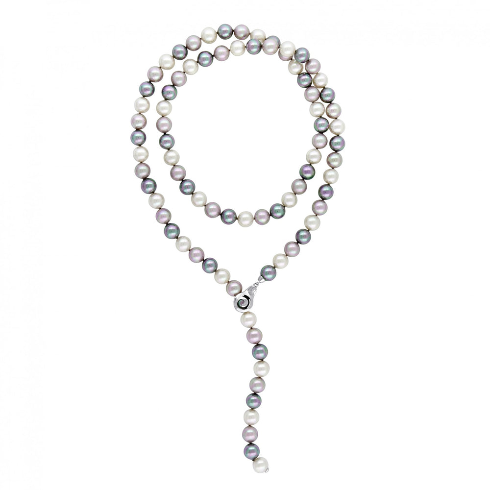 Multicolored Pearl Necklace, White/Gray/Nuage, 35""